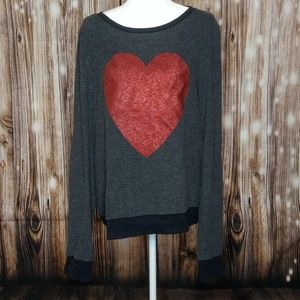 Wildfox Black Baggy Jumper, Red Heart, NWOT, Large